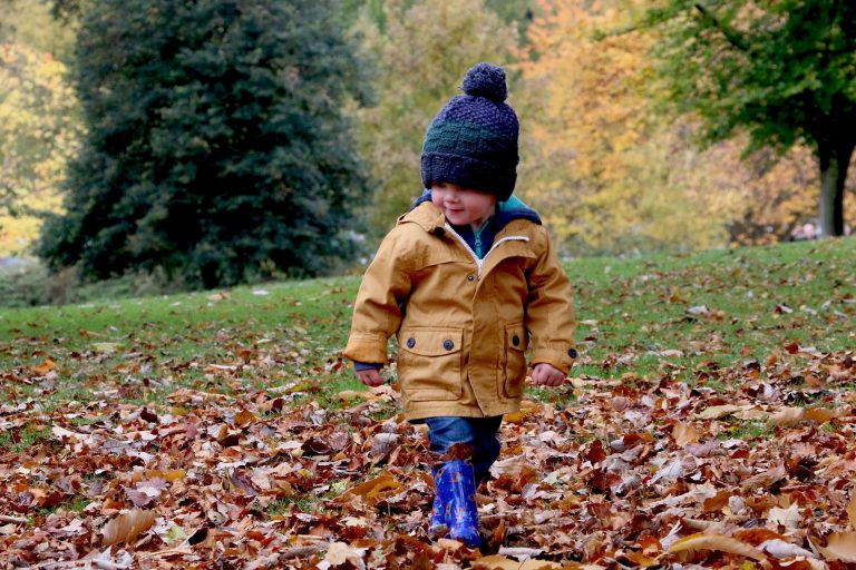 Young toddler dressed warm and playing in leaves.